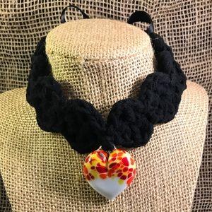 Murano Heart - Crochet Black Chocker
